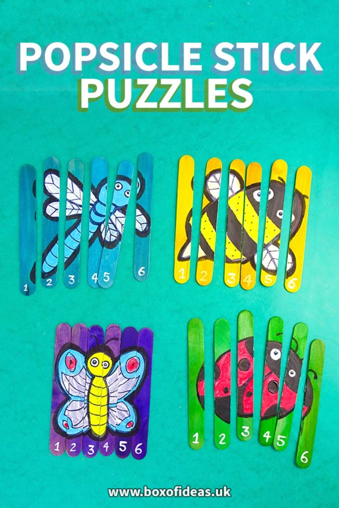 Four popsicle stick puzzles with bug designs: dragonfly, bee, butterfly and ladybug