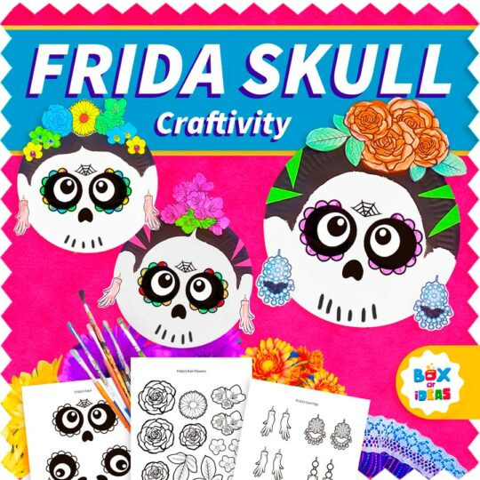 Paper plates crafts with sugar skulls and frida kahlo theme