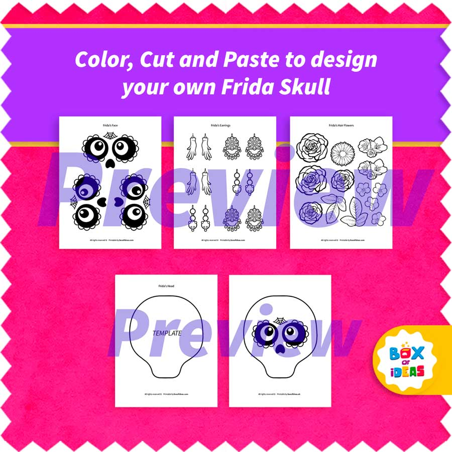 Preview pages of the Frida Kahlo sugar skull printable
