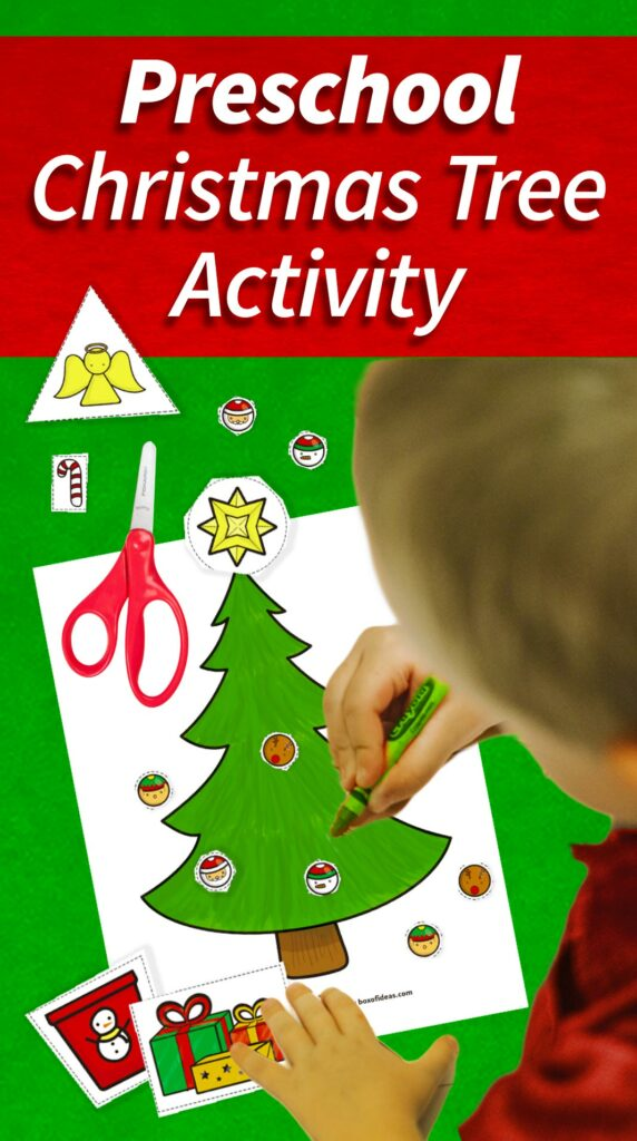 Preschooler doing a Preschool Christmas Tree Activity