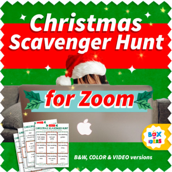preschool kid wearing a santa hat behind a macbook laptop with text that says Christmas Zoom Scavenger Hunt
