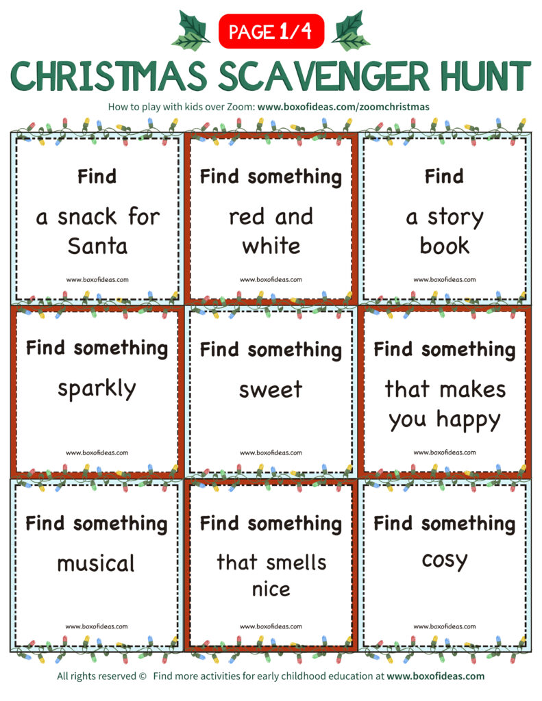 Virtual Scavenger Hunt for Kids printable with bingo-like find it cards