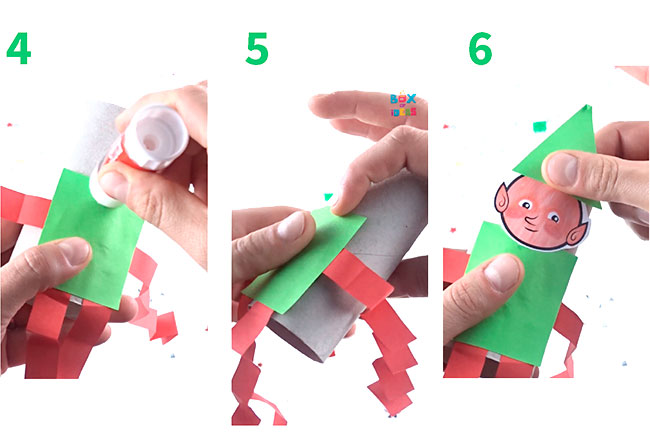 First part of a step by step how to make a paper elf