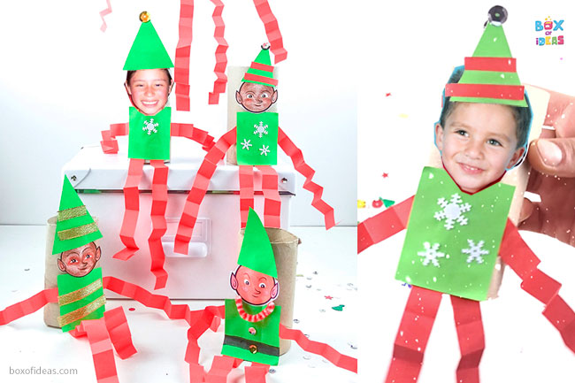 Examples of finished elf crafts, some using a template and some using real student's photos.